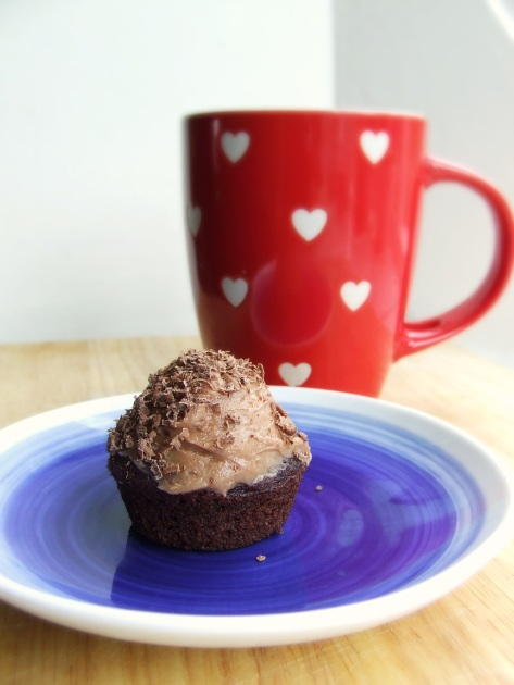 Chocolate beetroot cupcakes with malted chocolate frosting