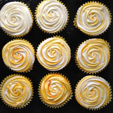 Lemon Rose Cupcakes top view
