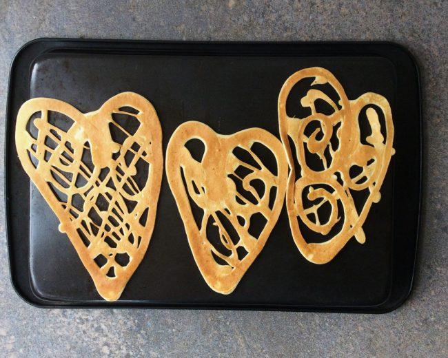 Three heart shapes pancakes