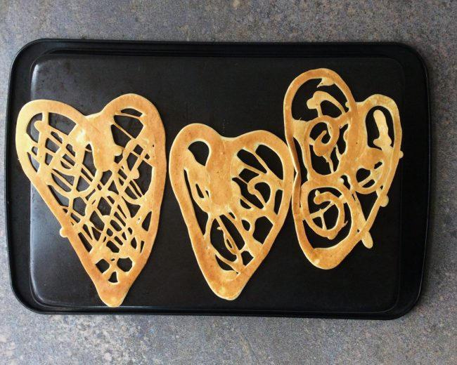 Three heart shapes pancakes