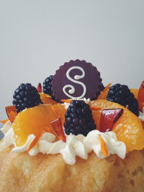 Savarin with Chantilly Cream: Great British Bake Off Week close up of fruit and caramel shards