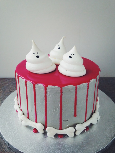 Spooky Halloween Blood Drip Cake with Meringue Ghosts and Bones