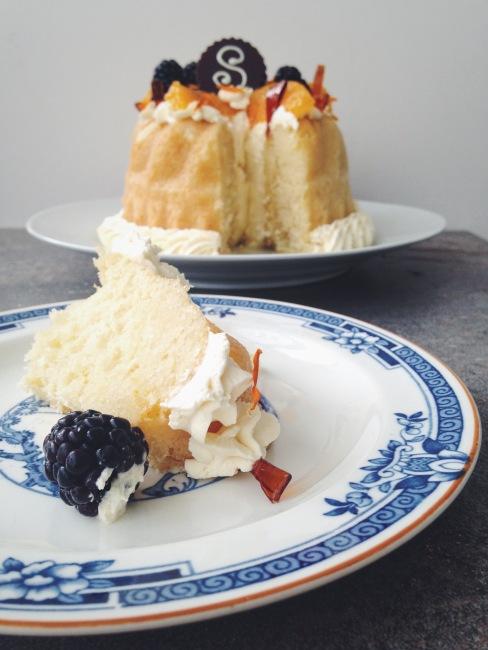 Savarin with Chantilly Cream: Great British Bake Off Week slice and side shot