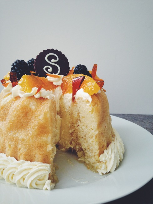 Savarin with Chantilly Cream: Great British Bake Off Week with slice cut out of it
