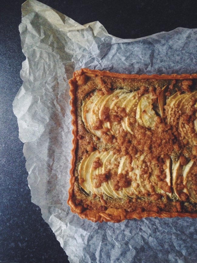 Apple Crumble Nut-Free Frangipane Tart from top