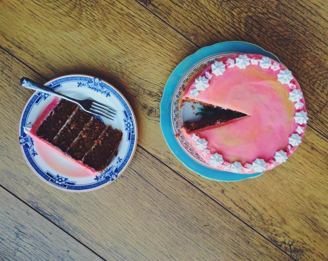 Watercolour Tea Cake with Honey Buttercream