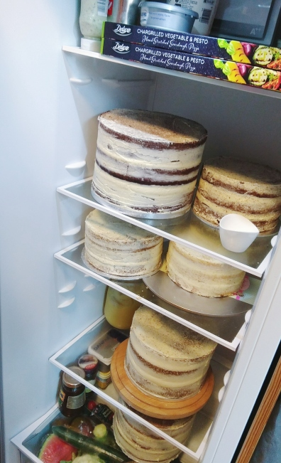 DIY Wedding Cake: A fridge full of stacked cakes