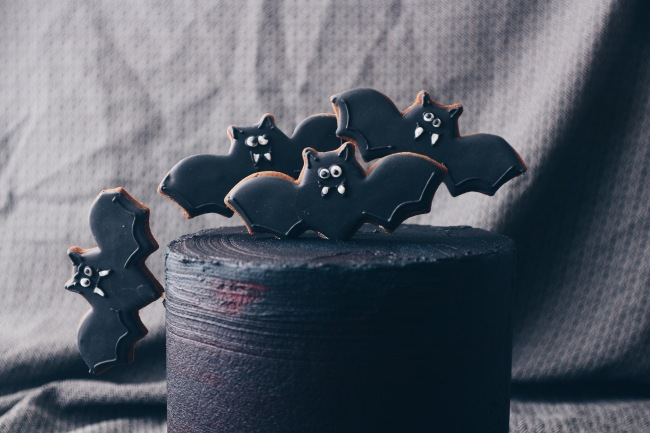 Chocolate Halloween Cake with Spiced Bat Biscuits